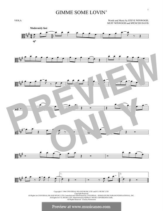 Gimme Some Lovin' (The Spencer Davis Group): For viola by Muff Winwood, Spencer Davis, Steve Winwood