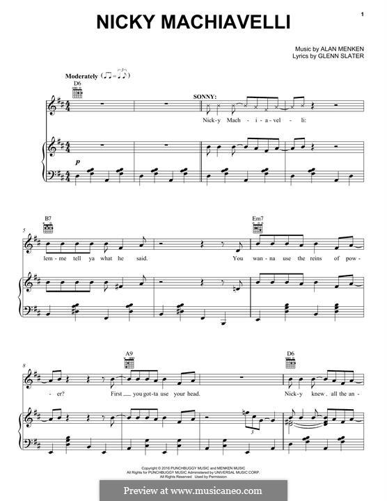Nicky Machiavelli: Für Stimme und Klavier (oder Gitarre) by Alan Menken
