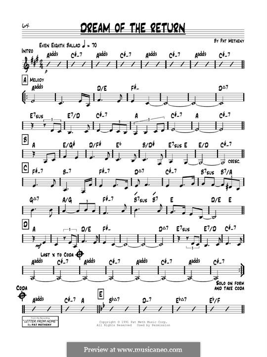 Dream of the Return: Für Gitarre by Pat Metheny