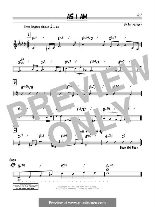 As I Am: Für Gitarre by Pat Metheny