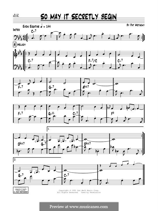 So May It Secretly Begin: Für Gitarre by Pat Metheny