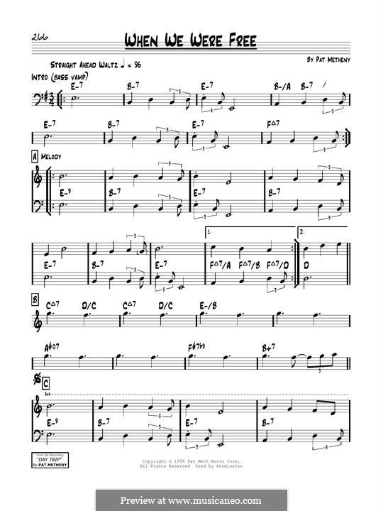 When We Were Free: Für Gitarre by Pat Metheny