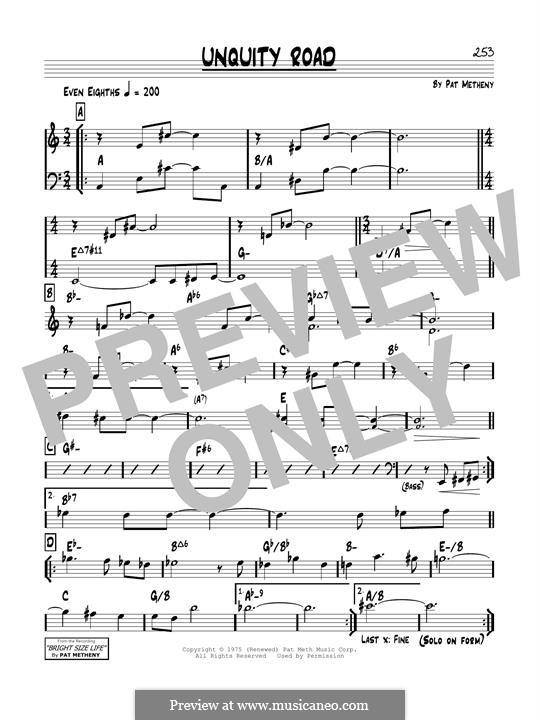 Unquity Road: Für Gitarre by Pat Metheny