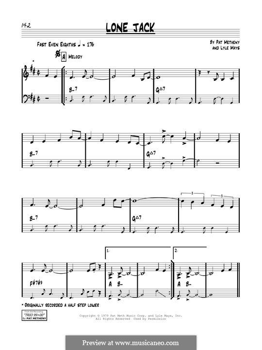 Lone Jack: Für Gitarre by Pat Metheny