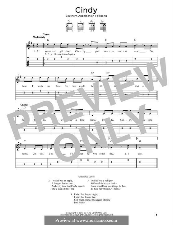 Cindy: Für Gitarre by folklore