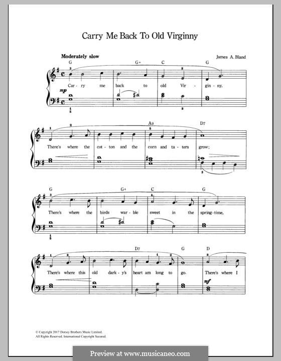 Carry Me Back to Old Virginny: Für Stimme und Klavier by James A. Bland