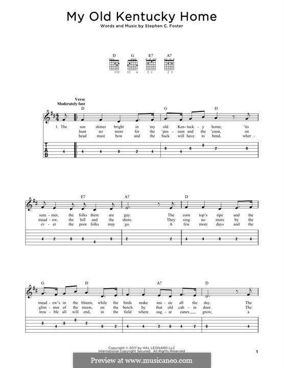 My Old Kentucky Home Good-Night: Für Gitarre by Stephen Foster