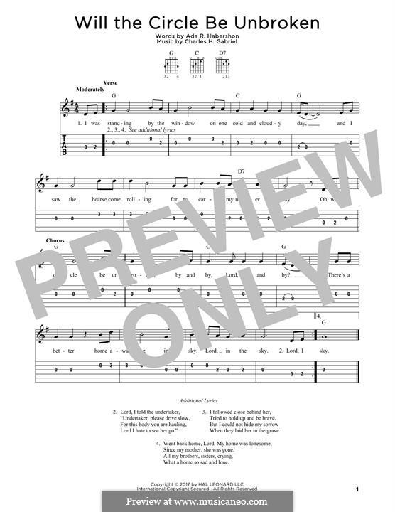 Will the Circle Be Unbroken: Für Gitarre by Charles Hutchinson Gabriel