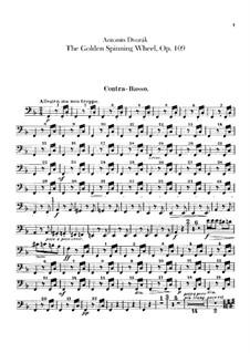 Das goldene Spinnrad, B.197 Op.109: Kontrabass-Stimme by Antonín Dvořák