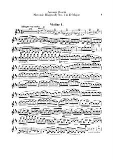 Rhapsodie Nr.1 in D-Dur: Violinstimme I by Antonín Dvořák