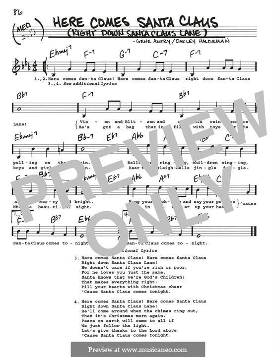 Here Comes Santa Claus (Right Down Santa Claus Lane): Melodische Linie by Gene Autry, Oakley Haldeman