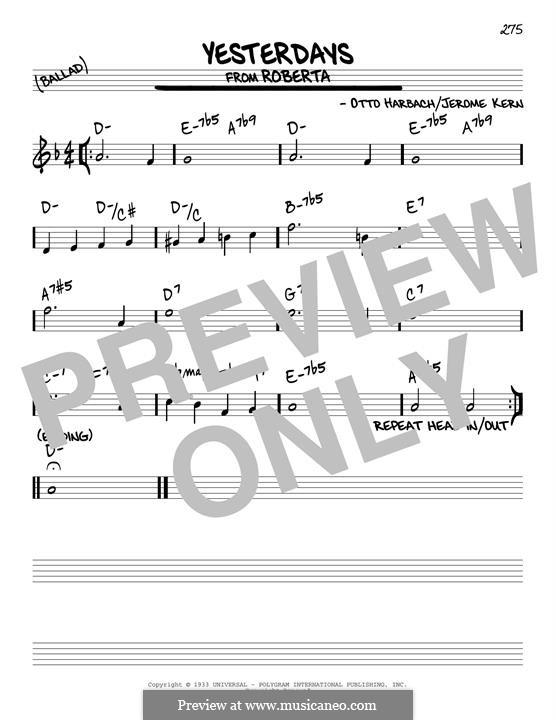 Yesterdays: Für Gitarre by Jerome Kern