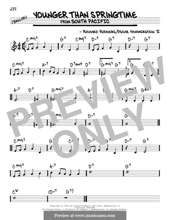 Younger Than Springtime (from South Pacific): Für Gitarre by Richard Rodgers