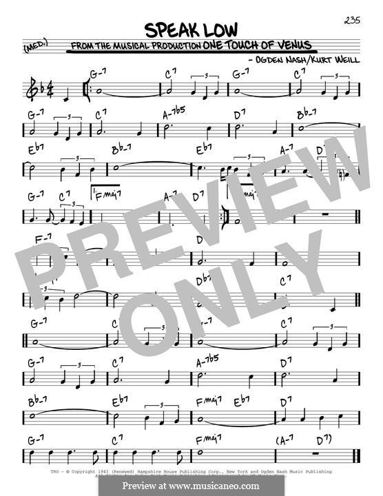 Speak Low: Für Gitarre by Kurt Weill