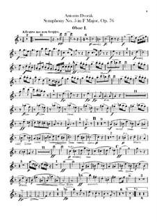 Sinfonie Nr.5 in F-Dur, B.54 Op.76: Oboenstimmen by Antonín Dvořák