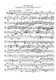 Sinfonie Nr.5 in F-Dur, B.54 Op.76: Fagottstimme by Antonín Dvořák