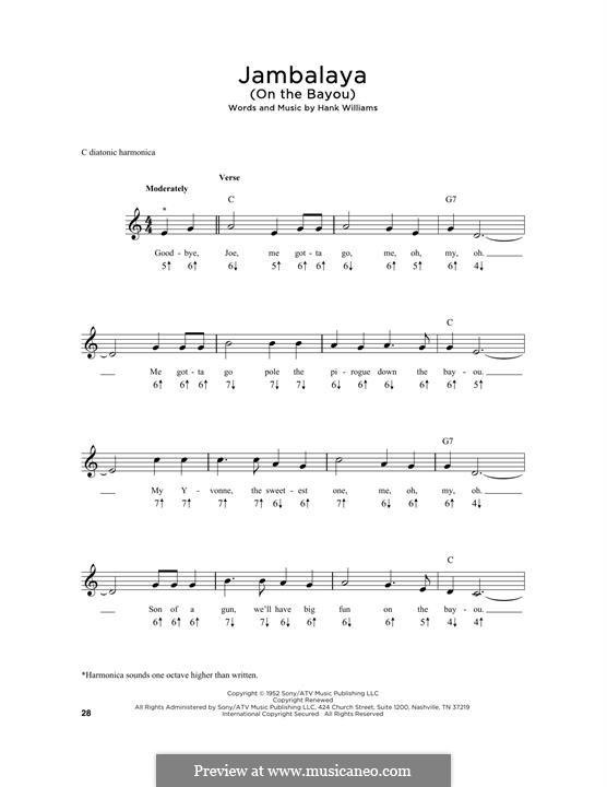 Jambalaya (On the Bayou): For harmonica by Hank Williams