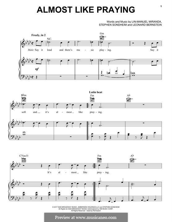 Almost Like Praying (feat. Artists for Puerto Rico): Für Stimme und Klavier (oder Gitarre) by Leonard Bernstein, Lin-Manuel Miranda, Stephen Sondheim