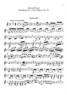 Sinfonie Nr.5 in F-Dur, B.54 Op.76: Violinstimme II by Antonín Dvořák