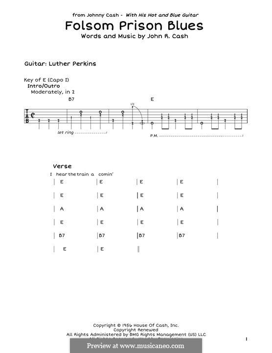 Folsom Prison Blues: Für Gitarre by Johnny Cash