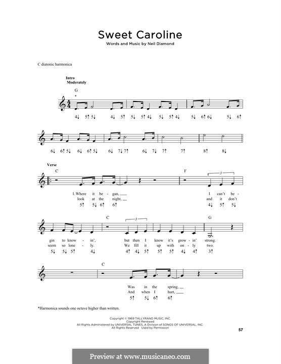 Sweet Caroline: For harmonica by Neil Diamond