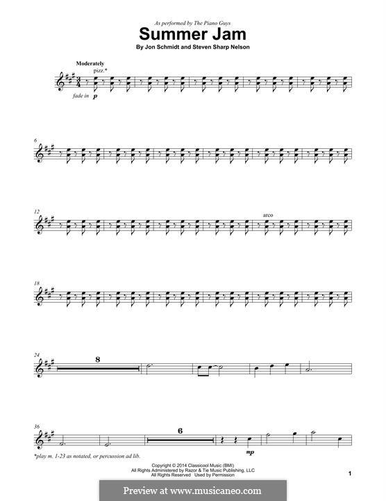 Summer Jam (The Piano Guys): Für Violine by Jon Schmidt, Steven Sharp Nelson