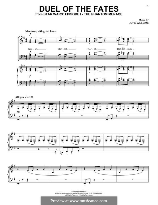 Duel of the Fates: For mixed choir and piano by John Williams