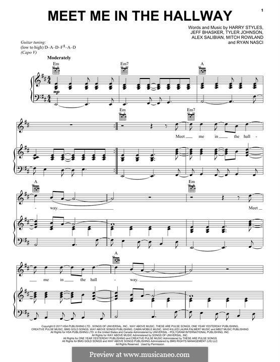 Meet Me in the Hallway: Für Stimme und Klavier (oder Gitarre) by Jeff Bhasker, Harry Styles, Tyler Sam Johnson, Alex Salibian, Mitch Rowland, Ryan Nasci