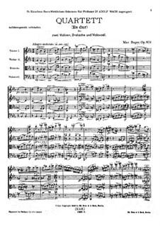 Streichquartett Nr.4 in Es-Dur, Op.109: Vollpartitur by Max Reger