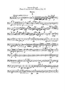 Konzert für Klaiver und Orchester in g-Moll, B.63 Op.33: Kontrabassstimmen by Antonín Dvořák