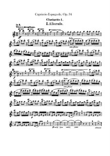 Spanisches Capriccio, Op.34: Klarinettenstimmen by Nikolai Rimsky-Korsakov