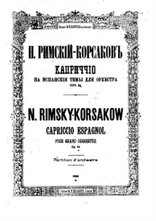 Spanisches Capriccio, Op.34: Vollpartitur by Nikolai Rimsky-Korsakov