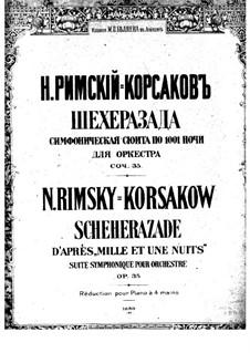 Scheherazade, Op.35: Movement I, for piano four hands by Nikolai Rimsky-Korsakov