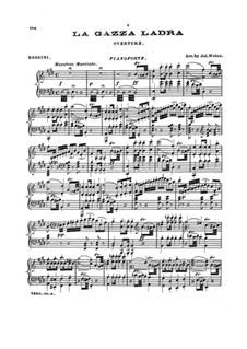 Die diebische Elster: Ouvertüre, für Klavier by Gioacchino Rossini