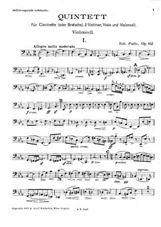 Quintett für Klarinette und Streicher, Op.102: Cellostimme by Robert Fuchs