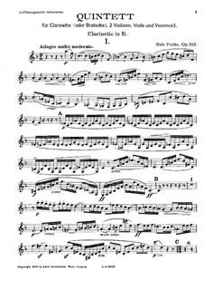 Quintett für Klarinette und Streicher, Op.102: Klarinettenstimme by Robert Fuchs