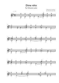 Dime niño de quien eres: Für Gitarre by folklore