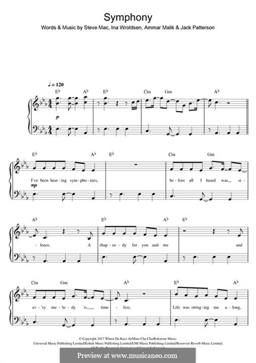Symphony (Clean Bandit): Für Klavier by Ammar Malik, Ina Wroldsen, Steve Mac, Jack Patterson