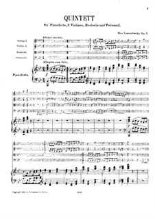 Klavierquintett in B-Dur, Op.2: Vollpartitur by Max Lewandowsky