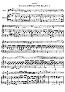 Sonatine für Violine und Klavier Nr.1 in D-Dur, D.384 Op.137: Partitur, Solostimme by Franz Schubert