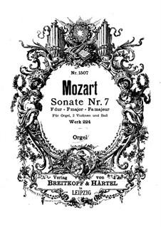 Kirchensonate für zwei Violinen, Orgel und Basso Continuo Nr.7 in F-Dur, K.224 (K.241a): Orgelstimme by Wolfgang Amadeus Mozart