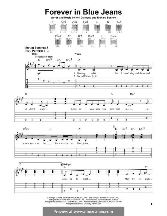 Forever in Blue Jeans: Für Gitarre by Richard Bennett