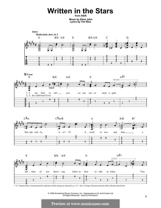 Written in the Stars: Für Gitarre by Elton John