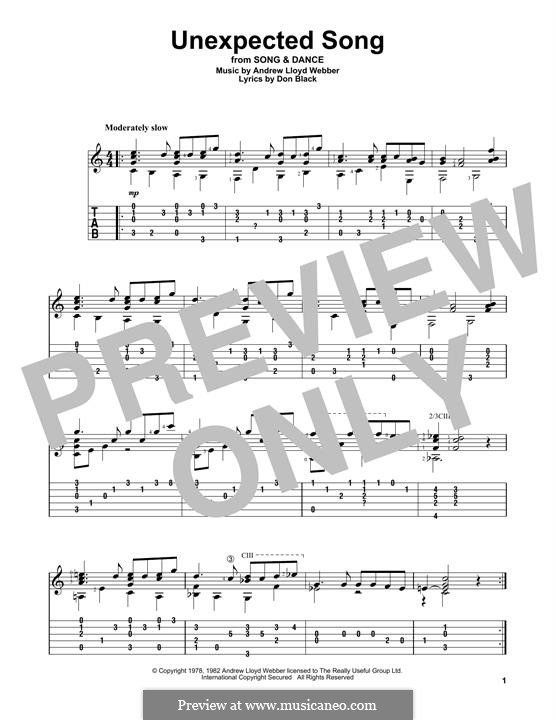 Unexpected Song: Für Gitarre mit Tabulatur by Andrew Lloyd Webber