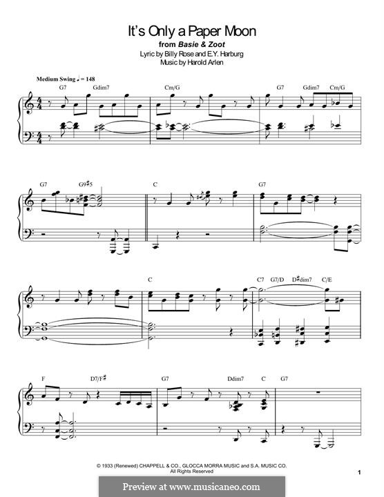 It's Only a Paper Moon: Für Klavier by Harold Arlen