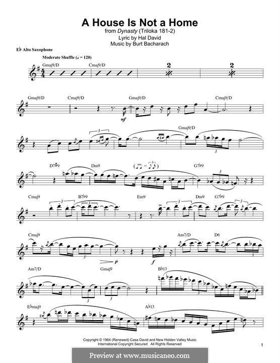 A House Is Not a Home: Für Altsaxophon by Burt Bacharach