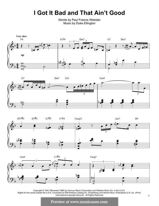 I Got It Bad and That Ain't Good: Für Klavier by Duke Ellington