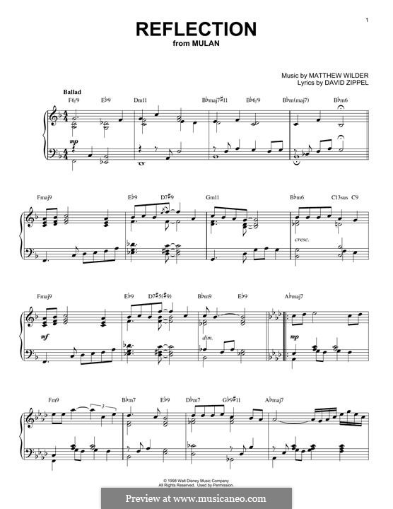 Reflection (from Disney's Mulan): For piano (Christina Aguilera) by Matthew Wilder