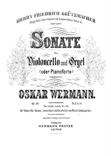 Sonate für Cello und Orgel (oder Klavier) in g-Moll, Op.58: Partitur by Oskar Wermann