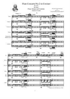 Six Flute Concertos for Flute, Strings and Cembalo, Op.10: Concerto No.2 in G minor 'La Notte' – score, parts, RV 439 by Antonio Vivaldi